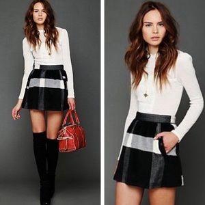Free People Buffalo Plaid Mini Skirt 4 EUC